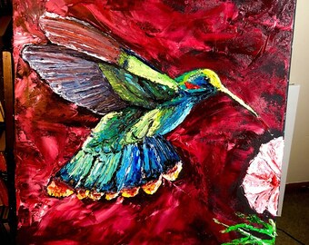 Crimson Hue Hummingbird- Palette Knife Oil Painting