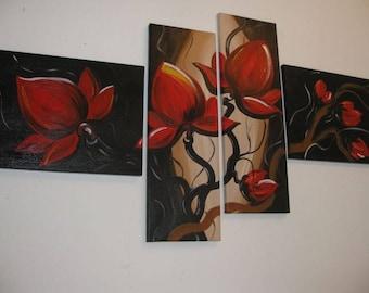 Red magnolias.