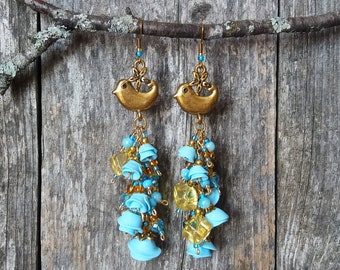 Summer Skies and Songbirds - Romantic Statement Earrings