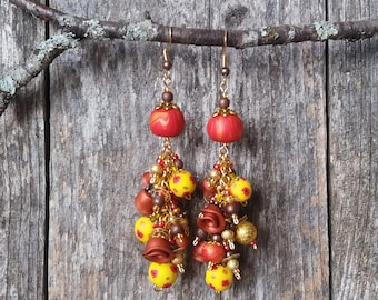 Raspberry Marmalade and Lemon Drops - Romantic Statement Earrings