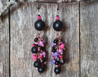 Black Currants and Pink Sunset - Romantic Statement Earrings