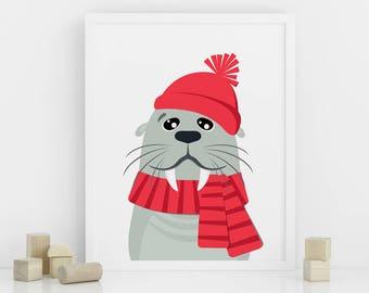Seal nursery print, Printable Nursery Animal Wall Art, Nursery Decor, Seal in a winter hat, Digital download