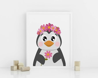 penguin with flowers etsy