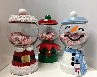 christmas candy jar santa candy jar snowman candy jar elf candy jar clay pot candy jar holiday candy jar - Christmas Candy Jars