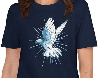 b7d61b5df Short-Sleeve Unisex T-Shirt artistic dove or pigeon as great symbol of peace  and freedom, handpainted in blue based on historical design