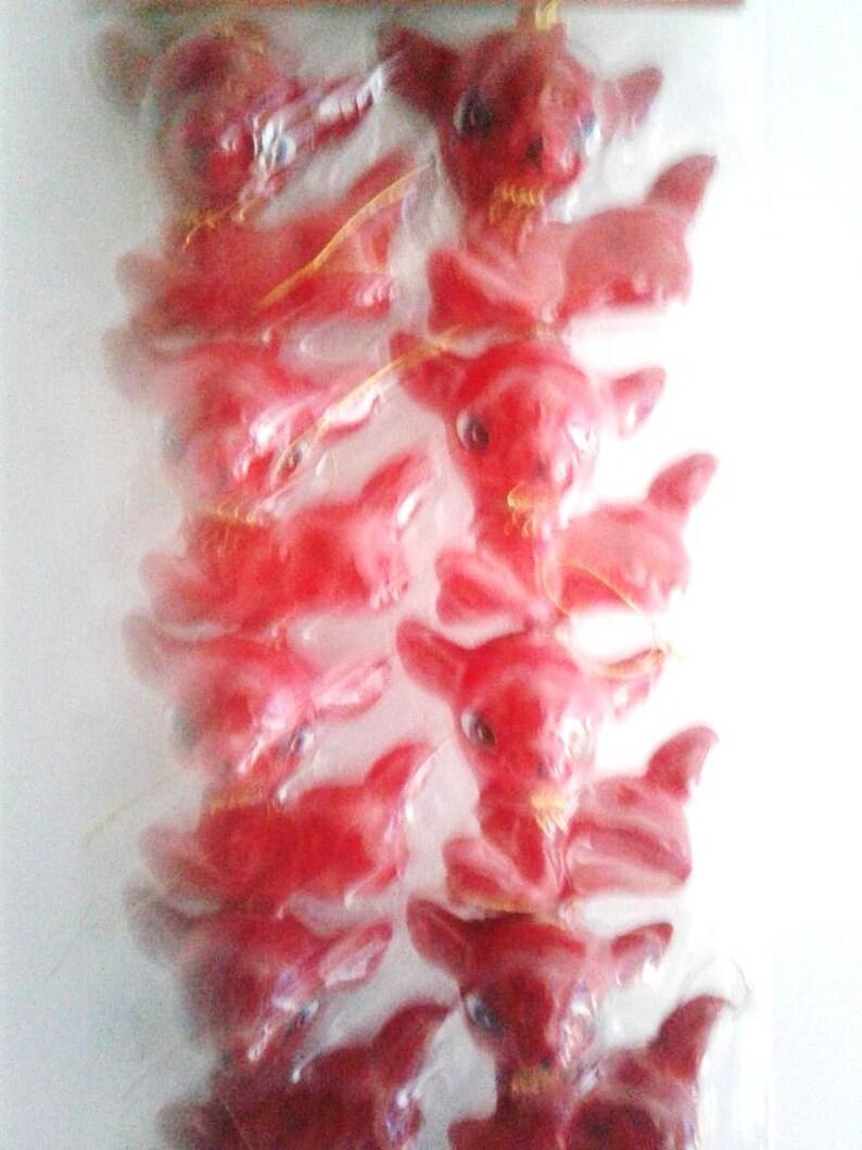 NOSNIP Sweetest Vintage 70s Red Flocked Plastic Deer Christmas Ornaments RARE
