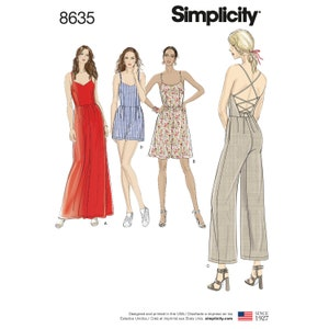 Butterick B4978 Front Opening Sz 8 Thru 14 Cut-a-way Armholes Tie ends Lined Misses Suzi Chin Flaired Formal Dress in 2 Lengths