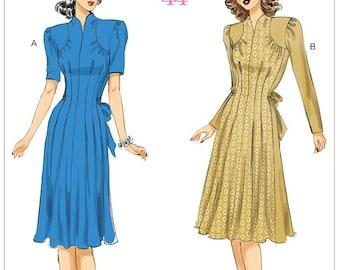 Butterick B6485 Misses' Dress Retro 1940's Sewing Pattern - Size 6-8-10-12-14