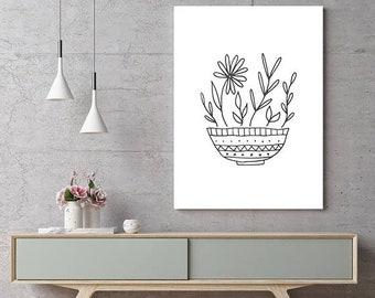 Flower Pot, Black and White Print, Black & White Poster, Instant Download, Printable Wall Art, Minimalist Poster, Modern Art, Digital Sign