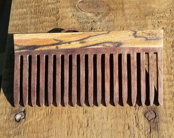 Handmade Wooden comb - Spalted Maple and Black Walnut - Squared top.