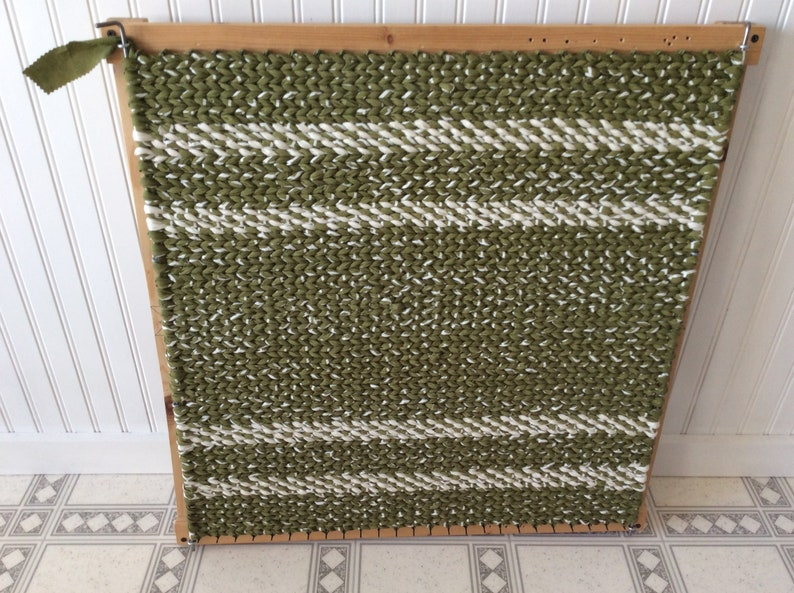 23\u201d x 25\u201d READY TO SHIP HandWoven Reversible RugMat Sage Green and Ivory Twined Rag Rug