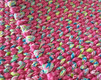 """Pink Multi Twined Rag Rug-READY TO SHIP-Kitchen Rug, Bath Mat, Entry Throw Rug-Easy care, Long Lasting 36""""x24"""""""