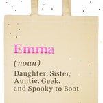 Personalised Name Definition Bag | Personalised Tote Bag | Bridesmaid Gift | Teacher Gift | Reusable Shopping Bag | Cotton Canvas Tote Bag