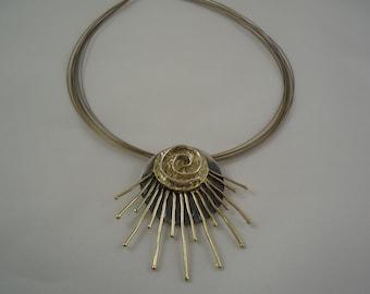 Silver bronze necklace, Handmade necklace, Modern jewellery, Modern necklace