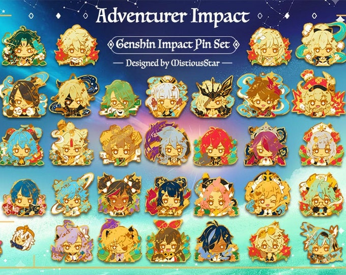 Featured listing image: Preorder! Genshin Impact Enamel Pins