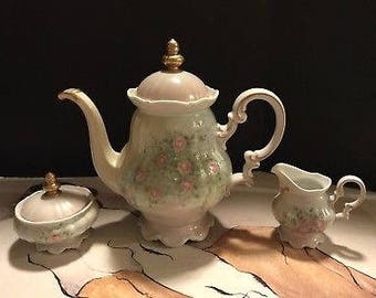 Hutschenenreuther Signed Techla 1989 Hand Painted Teapot, Creamer, Sugar Bowl.