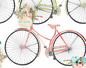 Beach Travel White Bicycles By Beth Albert 3 Wishes Fabric