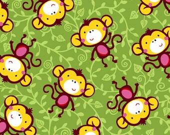 Into the Wild OA-6030402 Monkeys green for Oasis Fabrics