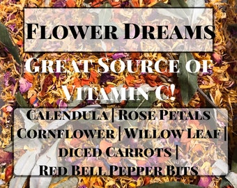 Flower Dreams Forage Mix- Guinea Pig Hay Treats, Forage Mix, Natural Herbs and Roots, Great for Enrichment & Wellbeing of your Pet