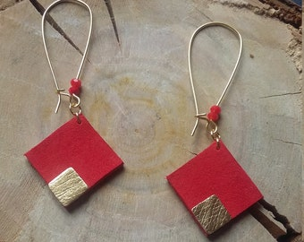 Tosca coral - leather earrings