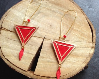 Augustine - coral leather earrings