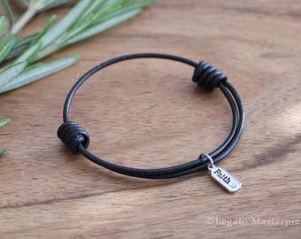 Leather Bracelet with Silver Crystal Charm, Faith | Believe