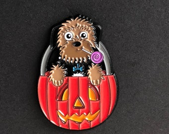 Trick or Treat Border Terrier pin