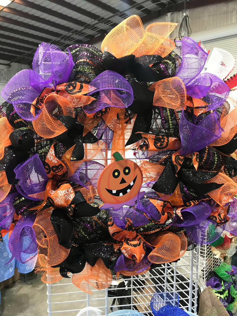 Halloween purple pumpkin wreath