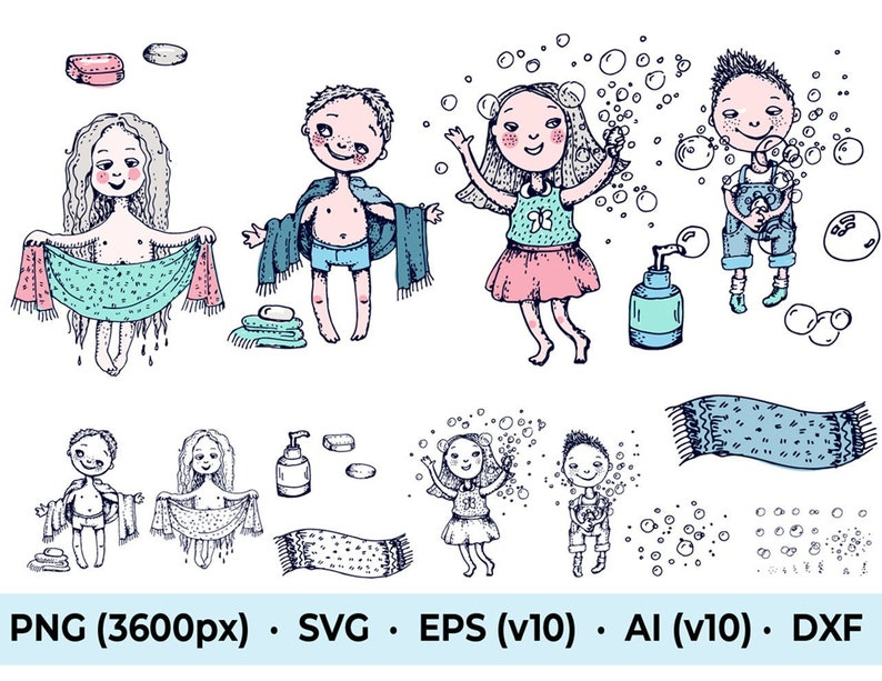 Free commercial use kids shower svg dxf ai eps png clipart image 0