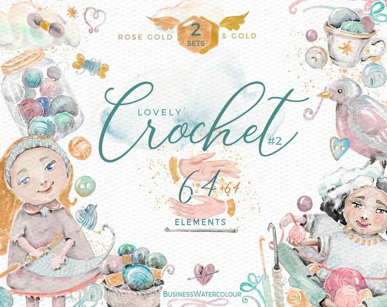 Hand drawn commercial use crochet clipart watercolor yarn wool image 0
