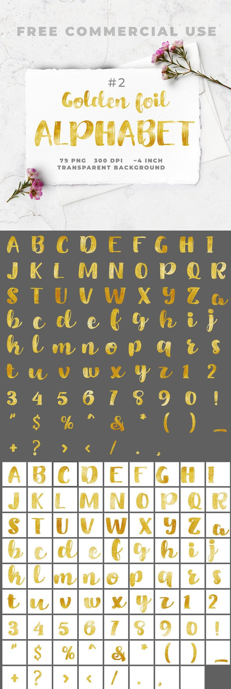 Commercial use bold brush style golden font alphabet clipart image 0