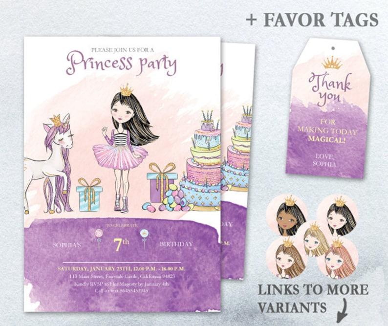 Editable Party Invitation Princess Portrait PDF Fairytale image 0