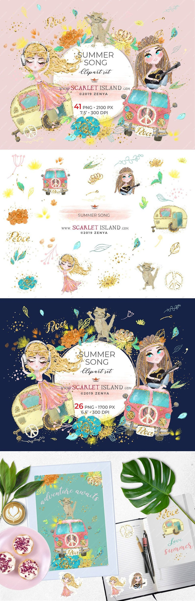 Summer song clipart set hand drawn hippie chic graphics boho image 0