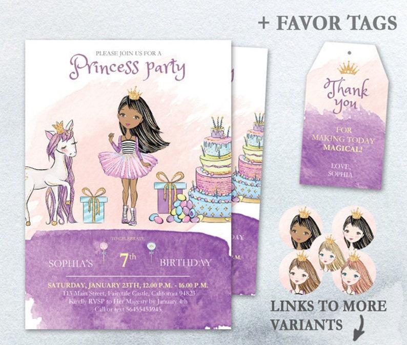 Fairytale Birthday PDF Editable Party Invitation Princess image 0