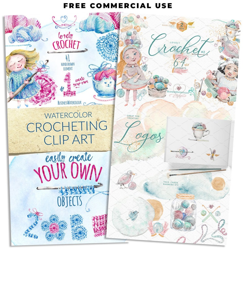 BUNDLE Hand drawn commercial use crochet clipart watercolor image 0