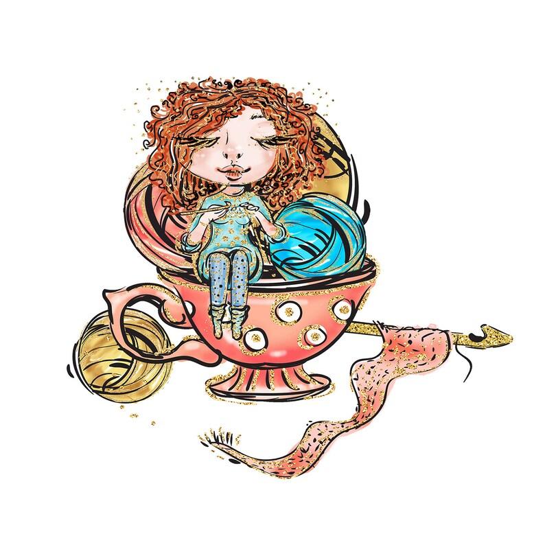 Illustration of crocheting girl image 0