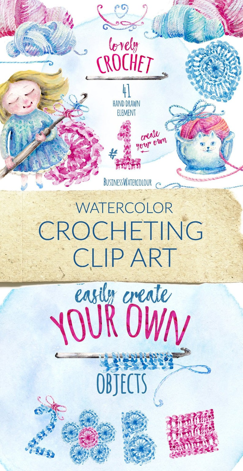 Lovely crocheting clipart hand drawn watercolor yarn wool image 0
