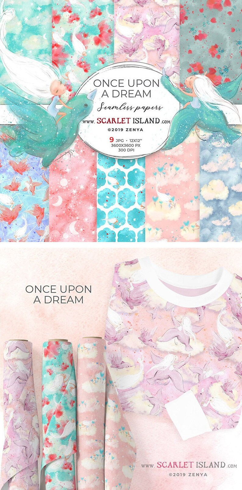 Dreamy digital papers nursery girly children backgrounds image 0