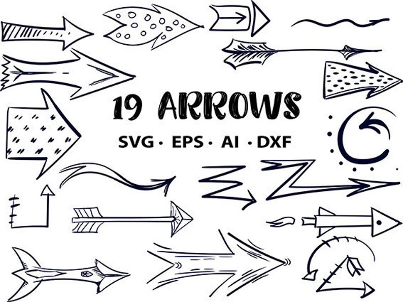 Free commercial use Arrows set svg bundle clipart hand drawn image 0