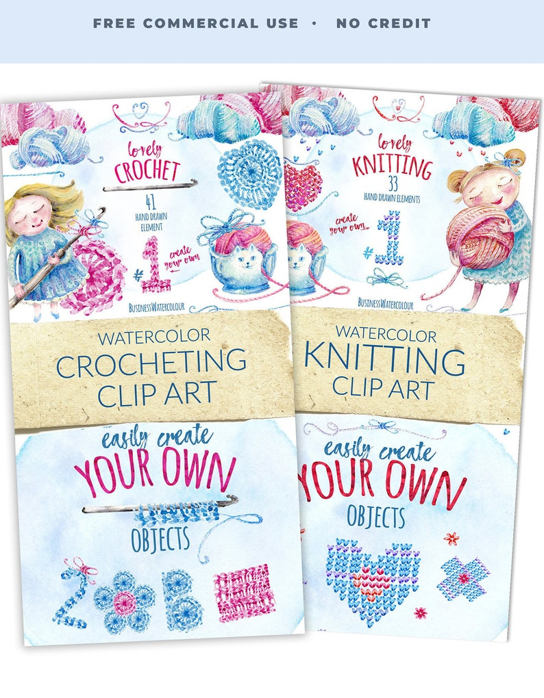 BUNDLE Lovely crocheting and knitting cliparts hand drawn image 0