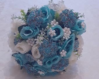 Bejewelled wedding bouquet