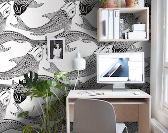 Fish Koi Removable Wallpaper Black And White Wall Mural Design 534