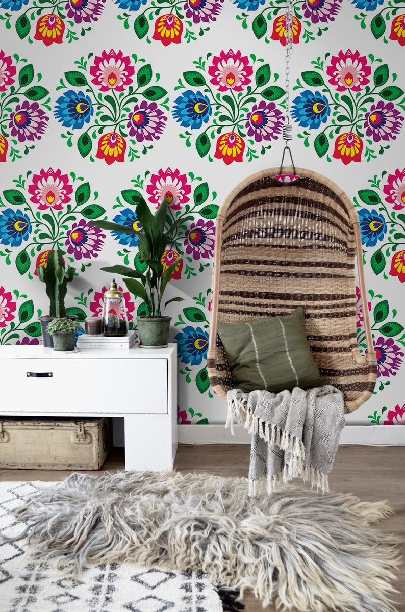Traditional Floral Removable Wallpaper Colorful Blue And Pink Etsy