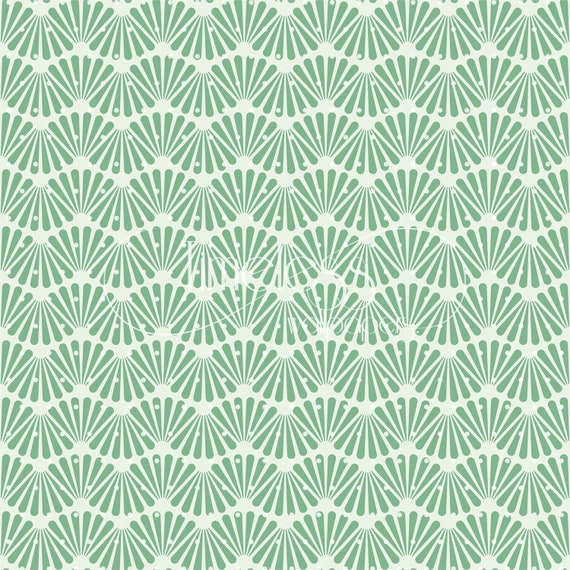 Art Deco Texture Removable Wallpaper Green And White Wall Mural Design 419