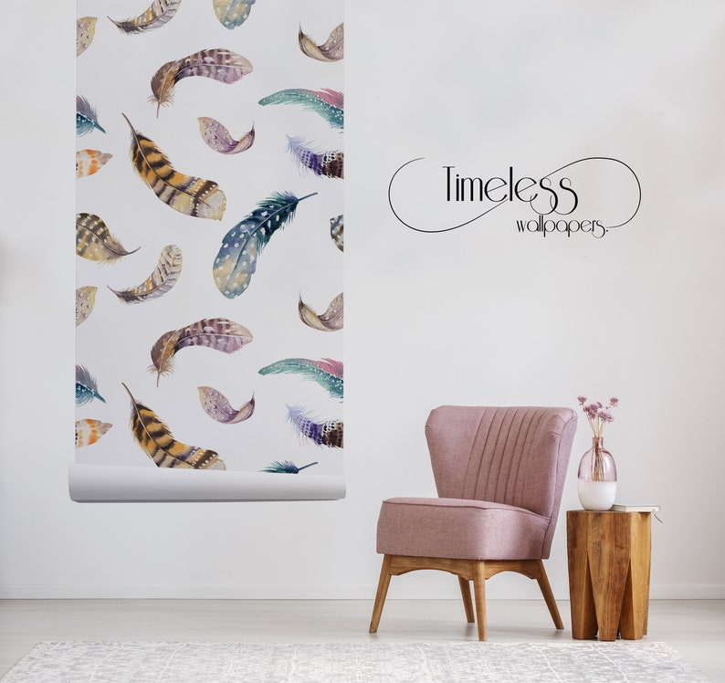 Feathers removable wallpaper brown and blue wall mural large #280