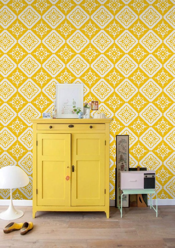 Vintage Removable Wallpaper Yellow And White Wall Mural Etsy