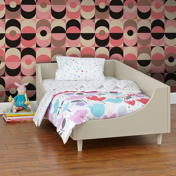 Muster Vintage Geometric Removable Wallpaper Pink And Black Wall Mural Traditional 524