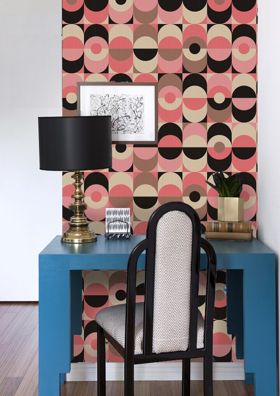 Muster Vintage Geometric Removable Wallpaper Pink And Black Wall Mural Non Woven 239