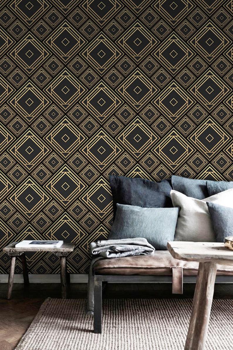 Art Deco removable wallpaper black and golden tilework wall mural wallpaper #112
