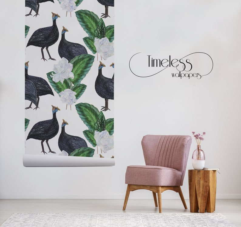 Watercolor Guinea fowls removable wallpaper black and green #83